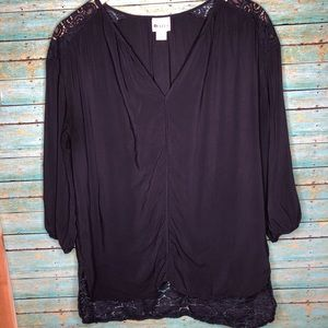 Stylus Navy Blue Lace Detail 3/4 Sleeve Top